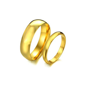 Fashion carbide rings 4MM 6MM wide Gold-Color wedding rings for women and men jewelry 82 N2
