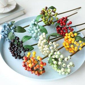 Artificial Berry Plant Bouquet Regalos de decoración de Navidad Regalos Fake Berries Artesanías Jarrón Decoración DIY Hogar Boda Decoración Accesorios