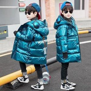 FICV 2018 Nueva moda capas con capucha Cuello de piel Cuello de piel Chaquetas de invierno largo Mayor algodón acolchado y parkas Niños Snowwear