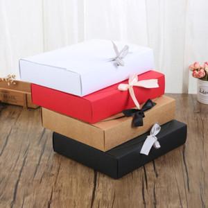 24 * 19.5 * 7cm blanc / noir / marron / brun / rouge boîte avec ruban grande capacité kraft carton papier boîte cadeau encadrement emballage emballage EWB1410