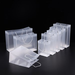 8 Size Frosted plastic gift bags with handles waterproof transparent PVC clear handbag party favors bag custom LX1383