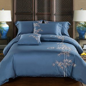 100% Egypt Cotton Embroidery Luxury Bedding set flat fited sheet King Queen size Bed set Duvet cover Bedsheet Pillowcases embroi