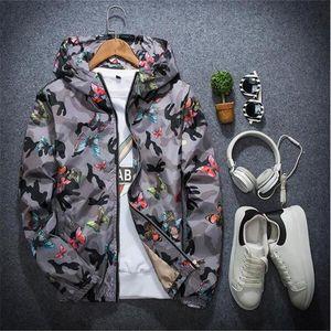 Chaquetas para hombres primavera otoño hombres chaqueta moda hiphop con capucha impermeable cortavientos mariposa impresión abrigo abrigo ropa exterior