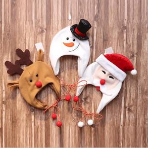 Christmas Hat Snowman Deer Santa Santa Caps Long Rope Cartoon Warm Earmuffs Hats Party Costume Photography Props Xmas Kids Gifts OWB2534