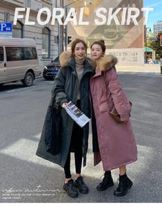 Женская мода новый стиль меховой воротник вниз проложенный пальто, длинные телогрейки, зима пальто на вате бесплатная доставка