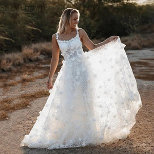 Beach Wedding Dresses Square Sweep Train A Line Lace 3D Floral Country Garden Bridal Gowns robes de mariee vestidos de novia Plus Size