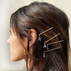 Bling Crystal Rhinestone A-Z 26 Letter hair clip Hairpins Headwear for Women Girls Hair Clips Pins Barrette Hair Accessories