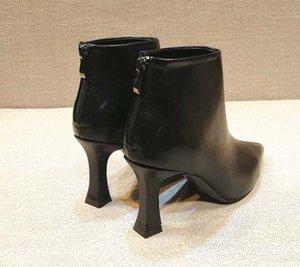 Estrella de la moda de cuero de zapatos de mujer de cuero mujer mujeres de la marca de moda de invierno corto tobillo botas de otoño 03 P310