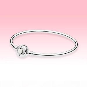 white Love heart Clasp Bangle Bracelet Women Girls Wedding Jewelry for Pandora Real 925 Silver Bracelets with Original box