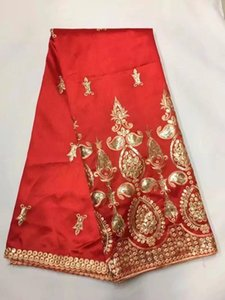 African George Lace Fabric Red High Quality George Lace Raw Silk Wrappers 2020 Nigerian Fabrics For Wedding 5yard