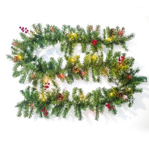 Led Pine Cone Party Festival Mall Home Fairy Light Restaurant Christmas Rattan PVC Decoration Hanging Berry Artificial Leaf1