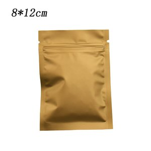 200Pcs 8*12cm Brown Matte Aluminum Foil Packing Bag Self Seal Mylar Zip Lock Drid Food Bean Snacks Storage Bags with Tear Notch Wholesale