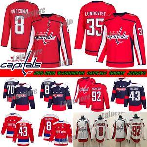 Washington Capitals Jersey 8 Alex Ovechkin 35 Henrik Lundqvist 74 John Carlson 77 TJ Oshie 92 Evgeny Kuznetsov Maglie da hockey