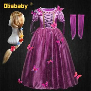 Niña princesa rapunzel vestido soplo manga mariposa hermosa vestidos infante navidad halloween niño rapunzel vestido peluca pelo lj200923
