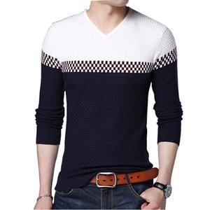 BROWON Мужчины Марка свитер свитер бизнес досуг свитер пуловер V-образным вырезом мужские Fit Тонкий Свитера Вязаная Мужчина 200929
