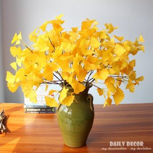 10pcs ! wholesale real touch Artificial Small ginkgo leaf plastic green plants fake leaves for Home Christmas Wedding Decoration