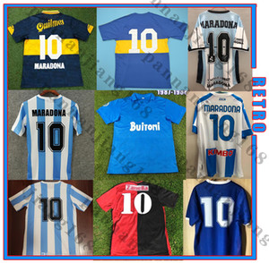 1986 Maradona Home Retro Soccer Jersey 93 94 Newells Old Boys 1981 Boca Juniors 87 88 Naples Napoli Football Shirt