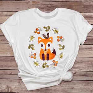 Women T shirts Fox Cute Fashion Cartoon Printing Kawaii 90s Womens Graphic T Top Ladies Print Lady Shirt Female Tee Shirt
