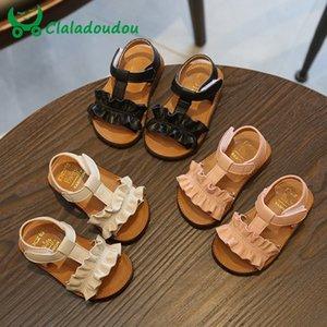 Claladoudou 12-16CM Crianças Sandals 2019 Rosa Bege Pure Summer Girls Ruffles Princess Tênis Anti-Slip bebê Sandália da criança
