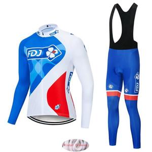 설정 로파 Ciclismo MENS 겨울 열 양털 프로 자전거 재킷 타이츠웨어 2020 NEW GROUPAMA FDJ 사이클링 팀 저지 턱받이 바지