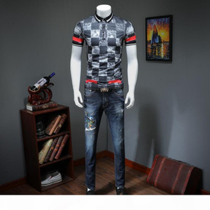 Cool men's POLO shirt with lapel and slim fit T-shirt with square pattern and half sleeve summer Paul shirt