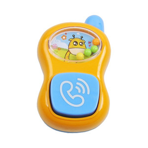 Cartoon mobile phone shape orange and blue color with bead baby rattle and teether toys