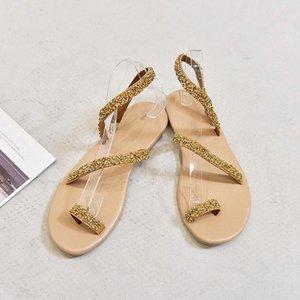 Wigqcy Sandalias para mujer Zapatos casuales Nueva moda Sandalias de verano Bohemian Crystal Pearl Flat Casual Sexy Zapatos Sandalias Mujer D267 # A42L