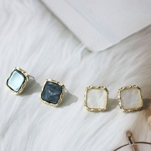 925 silver needle Korean version square geometry shell female earring 2020 senior lady cold wind gold edge delicate Earring