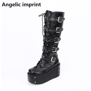 Angelic imprint mori girl Women motorcycle boots lady lolita Boots woman high heels pumps wedges platform shoes rhinestone 33-47 201019