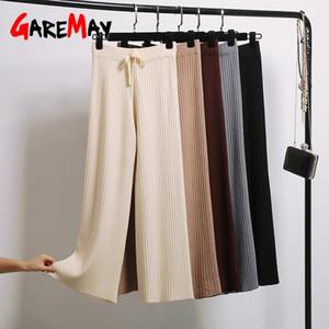 GareMay 2020 sonbahar sıcak kalın gündelik düz pantolon kadın kış kadın ipli gevşek geniş bacak pantolon rahat pantolon 1020 örme