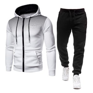 Two Piece Set Men Tracksuit Polyester Sweatshirt and Pants Outfit Sportswear Suit Hooded Hoodies Male Sweatshirts Size M-3Xl 201204