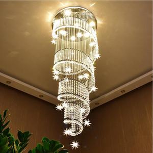 DHL / UPS Современные светодиодные длинный спиральный кристалл лестница люстра освещение круглый дизайн прихожей творческий ресторан висит светильники