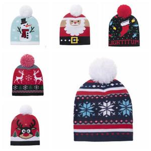 Christmas Knitted Beanies Hat Kids Pom Pom Hats Baby Winter Warm Headwear Outdoor Cap Christmas Children Gift 5 Designs FWB2483