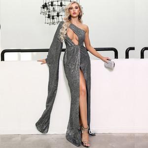 Sparking Grey High Side Split Prom Dresses One Shoulder Long Sleeve Bling Bling Cocktail Party Dress