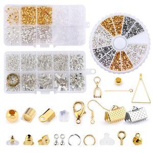 Schmuckherstellung Kit Offene Jump Ringe Hummer-Verschlüsse Ohrringhaken Crimpperlen für DIY Schmuckherstellung liefert Legierung ACC Qyllry
