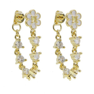 high quality fashion cz paved white enamel flower shape long chain dangle charm earring for women delicate wedding jewelry gifts