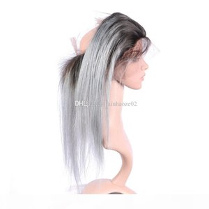 #1bTgrey 360 lace frontal Virgin Brazilian Straight Human Hair 22.5*4*2 360 Full Lace Frontal with baby hair