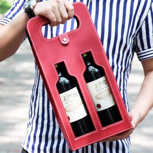 50pcs lot Luxury Portable PU Leather Double Hollow-out Red Wine Bottle Tote Bag Packaging Case Gift Storage Boxes With Handle