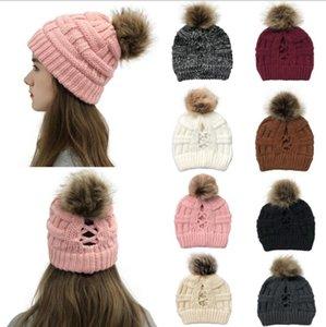 Malha de-cavalo Caps Moda Criss Cross-cavalo Beanie exterior destacável Pom Pom Hat Inverno Quente Lã Casual Knitting Hat FWB2279