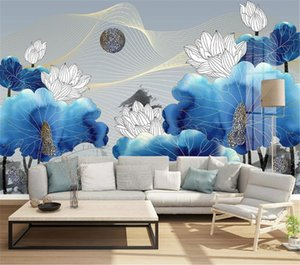 Custom 3d Wallpaper New Chinese Line Drawing Ink Lotus Abstract Art Light Living Room Bedroom Background Wall Decoration Mural Wal
