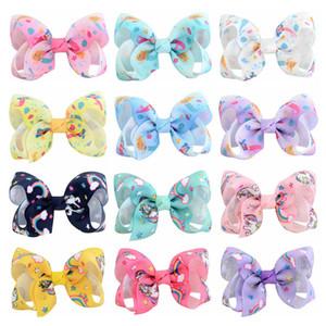 12 renk Çocuk Bebek kız Unicorn pruva hairclip 8 cm renkli kurdele saç tokası bebek Saç aksesuarları H152