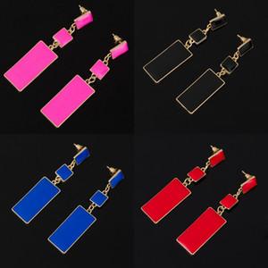 Мода дизайн геометрии золотой цвет 4 цветных сплава синий эмаль капля серьги для женщин длинные серьги на день Святого Валентина 277 J2