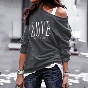 2020 NEW LOVE Gray Women's One Shoulder Tops casual Letter Print Long Sleeve T-Shirts female Plus Size Spring Autumn clothes Z1116