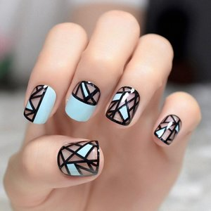 New Arrival Light Aquamarine Short Press On Nails Black Triangle Round Full Cover French Acrylic Fake Nail For Women Wear Z942 r1LS#