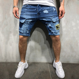 Mens new arrival ripped embroidered denim shorts summer fashion jeans youth hip-hop pants Size S-3XL