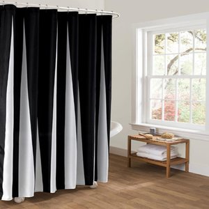 Black And White Vertical Stripes Shower Curtain Black Bathroom Curtain Polyester Fabric Waterproof Shower Drop Shipping
