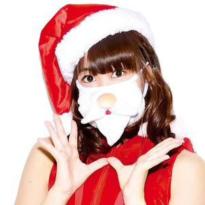 DHL free shipping Christmas mouth mask Cute Santa Beard Bunny Adult printing dustproof washable Keep warm reusable Dust mask