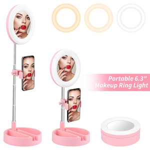 Folding Extension-type Portable LED Selfie Ring Fill Lights for Photography Live Stream Video Broadcast with Phone Stand and Storage Box