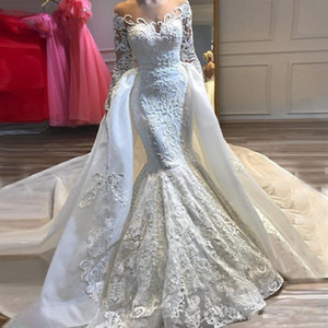 Newest Sheer Neck Long Sleeve Mermaid Wedding Dresses 2020 Sheer Neck Lace Applique Beading Detachable Tail Bridal Gowns abiti da sposa