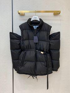 abrigo negro damas de longitud media de 20FW hombres abajo chaqueta con mangas desmontables con cremallera chaleco abajo chaqueta con más desgaste
